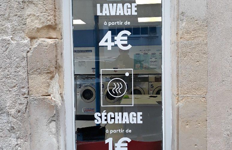 Marquage vitrine lettres adhésives découpées CAEN