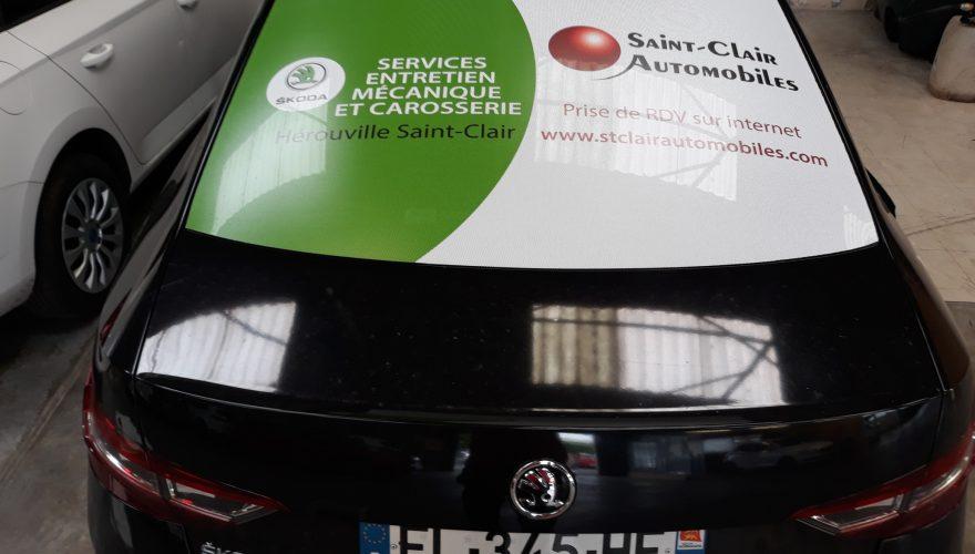 Décoration véhicule de courtoisie vitre arrière microperforé Hérouville Saint-Clair