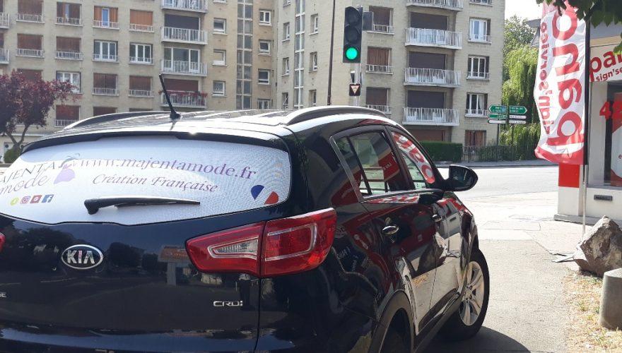 Décoration véhicule professionnel vitre arrière microperforé Caen