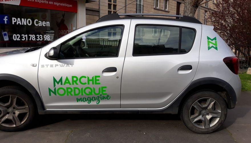 Marquage véhicule professionnel lettres découpées adhésif teinté masse deux couleurs. Caen